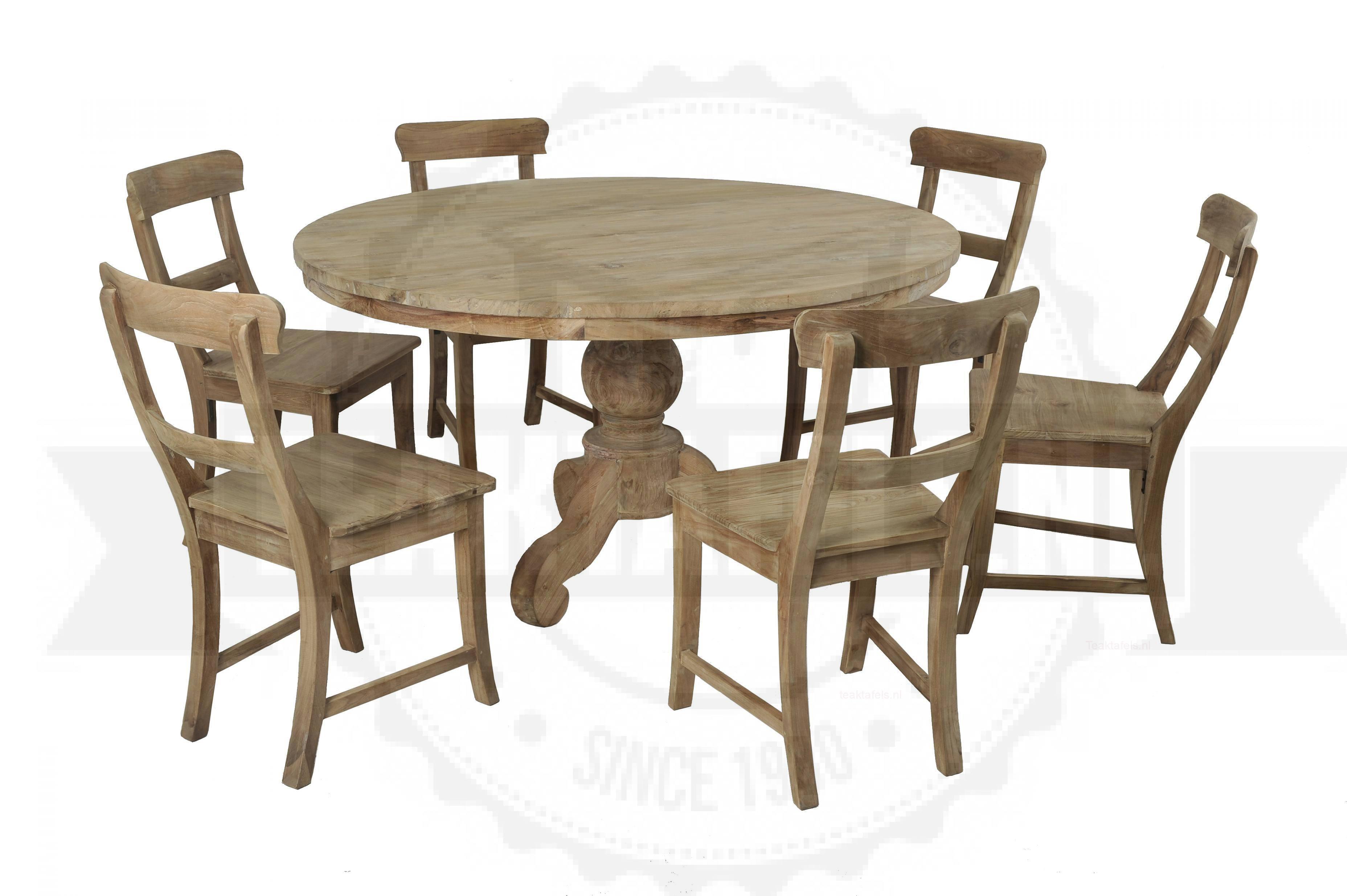 Ronde teak tafel 140cm 6 stoelen u2013 teaktafels.nl